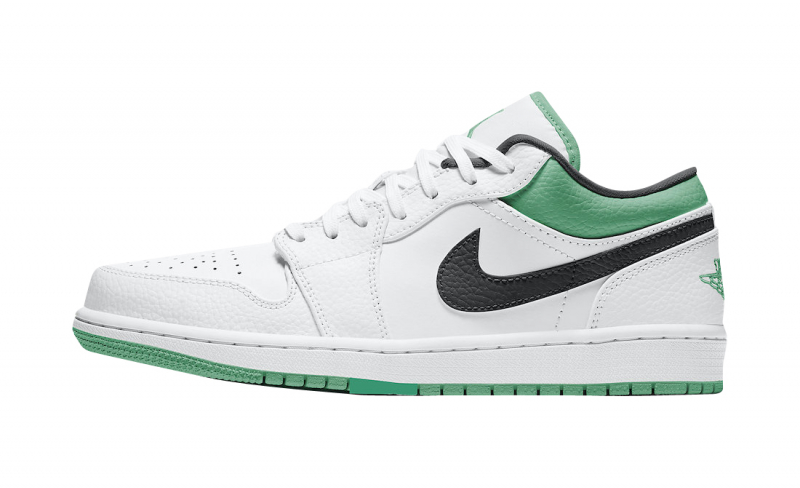 Air-Jordan-1-Low-White-Lucky-Green-Side-View-Left
