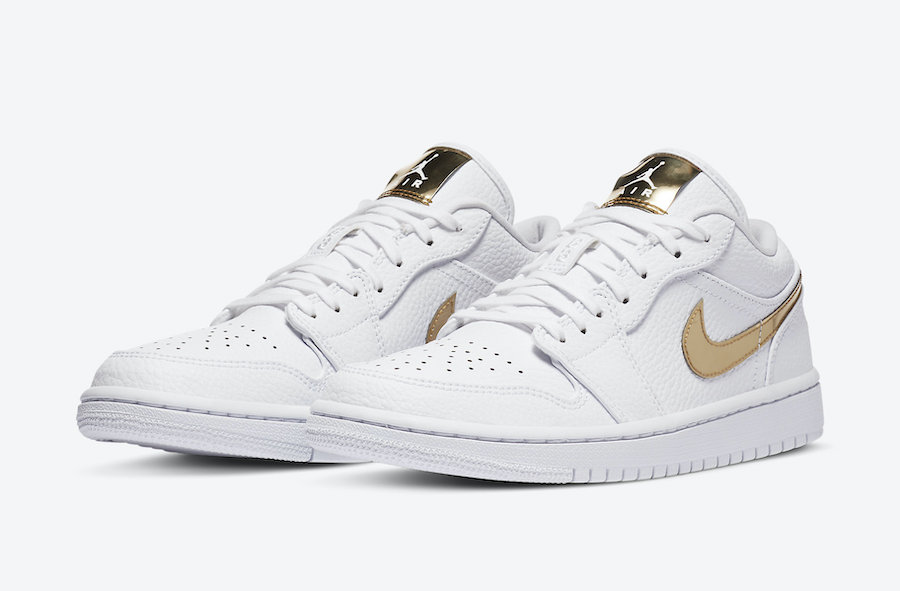 Air-Jordan-1-Low-White-Metallic-Gold-Full-View