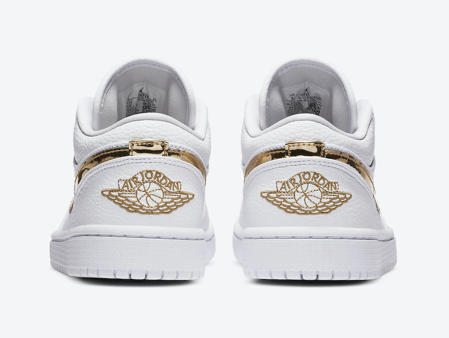 Air-Jordan-1-Low-White-Metallic-Gold-Rear-View