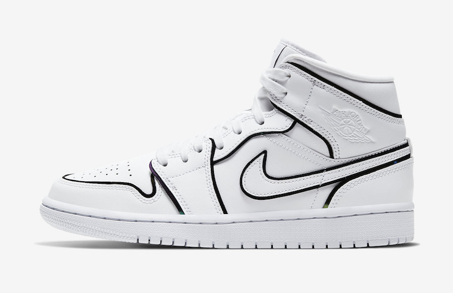 Air Jordan 1 Mid iridescent Reflective White Lateral Side