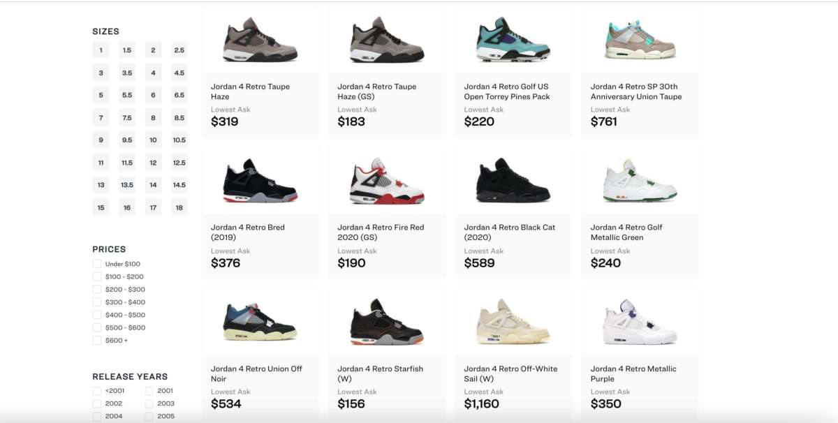 Air Jordan 4 asking prices ranging from over $1,000 to a discounted price of $150 for a women's colorway