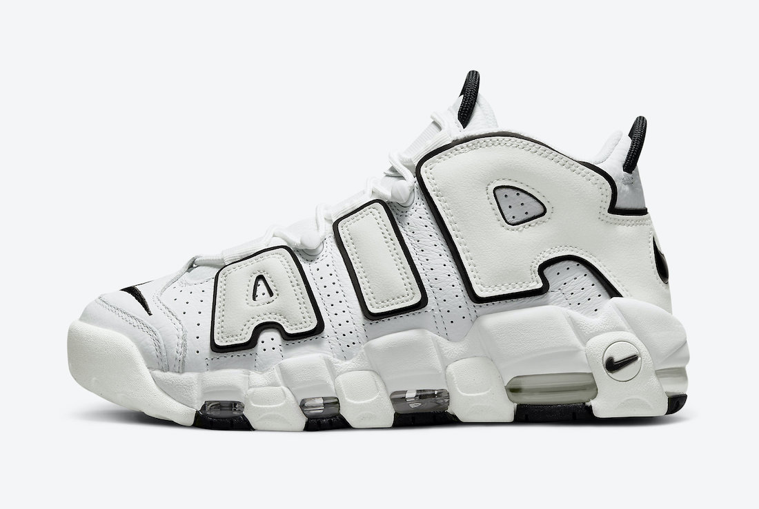 Nike Air More Uptempo White Black Side View