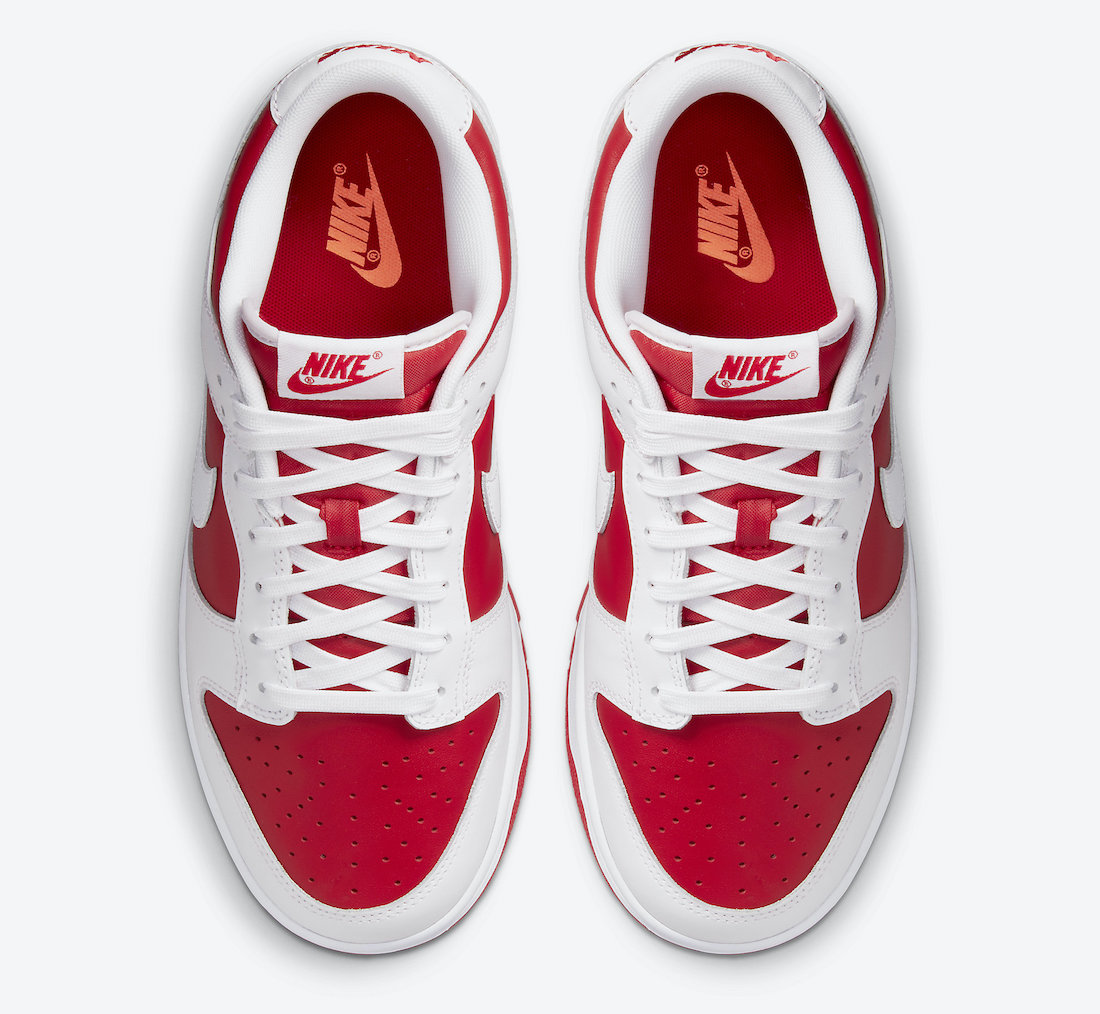 Nike Dunk Low White University Red Hover View