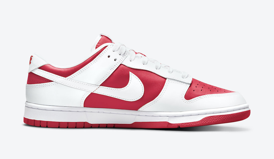 Nike Dunk Low White University Red Side View