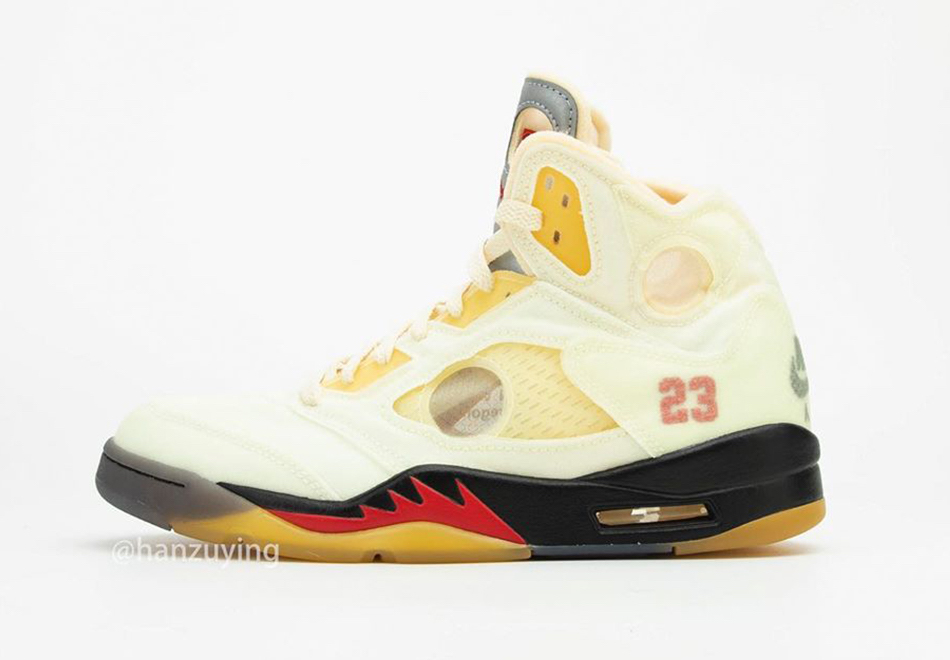 Off-White-Air-Jordan-5-Sail-Fire-Red-Side-View