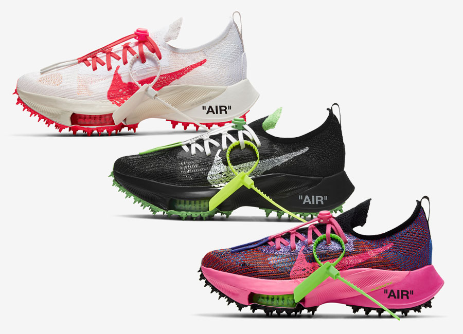 Off-White x Nike Air Zoom Tempo Scream Green, Solar Red, and Pink Glow