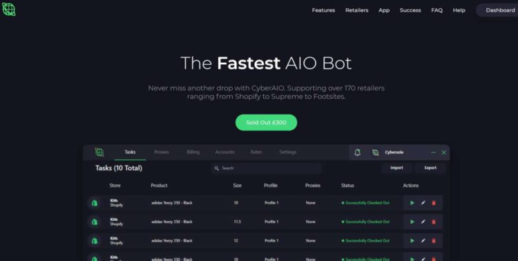 Cyber website home page bot for sale