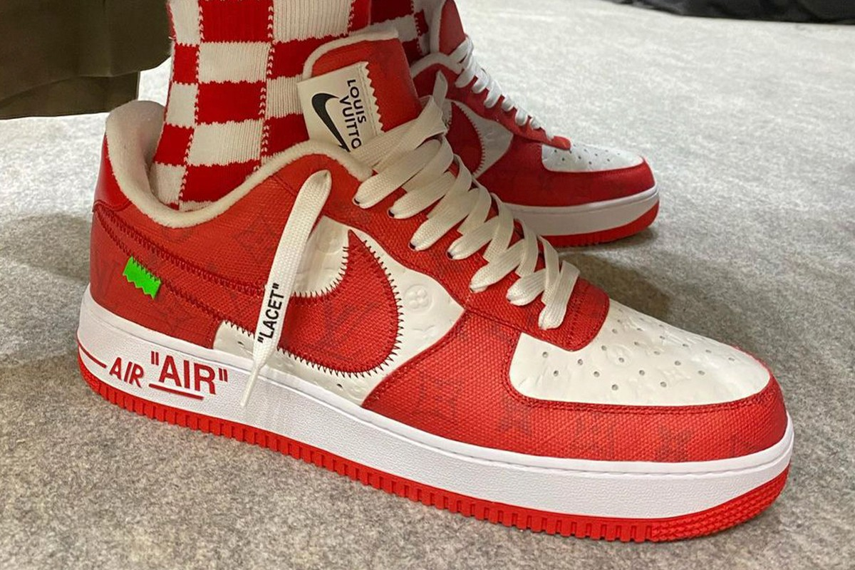 Louis Vuitton Nike Air Force 1 Mid University Red