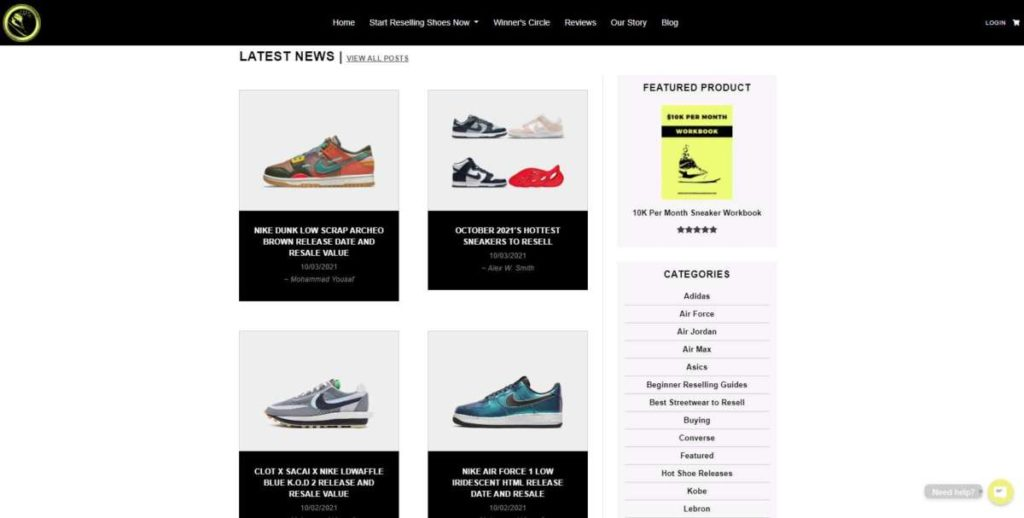 six figure sneakerhead home page view with the latest shoe news