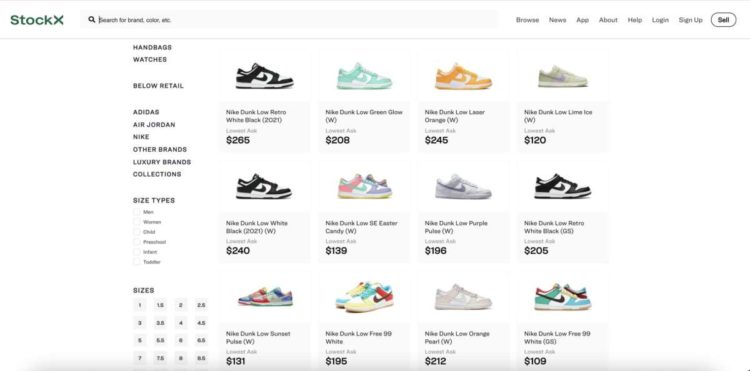 Recent Women and GS Nike Dunk Low Resale Values Via StockX